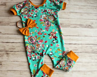 Girl Romper, Toddler Romper, Infant Romper, Baby Girl Romper, Floral Romper, Baby Romper, Dolman Romper, Coming Home Outfit, Jumpsuit