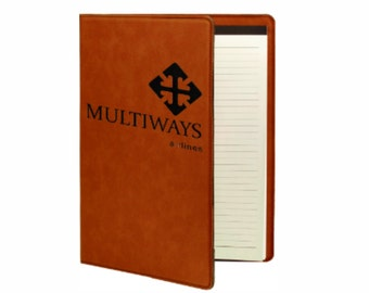 """Personalized Leatherette Portfolio with Notepad (7"""" x 9"""")"""