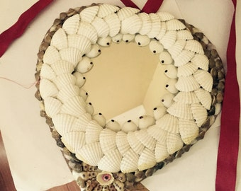 Heart Shaped Seashell Mirror Frame Valentines Day Gifts Handcrafted Vintage Sea Shell