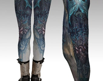 Strings of the Heart Art Leggings - Art Leggings, yoga leggings, digital print leggings, boho leggings, sublimation leggings