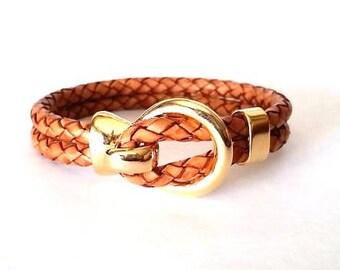 Gold bracelet, Hook clasp, mens leather, leather bracelet for men, Braided leather bracelet, gift for dad, brown bracelet
