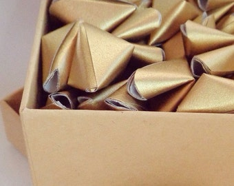 Little box of 50 LARGE paper origami heart love messages - wedding favour - simple decor