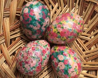 Flower Garden Handmade Washi Tape Decoupage Paper Mache Easter Eggs: Set of Four