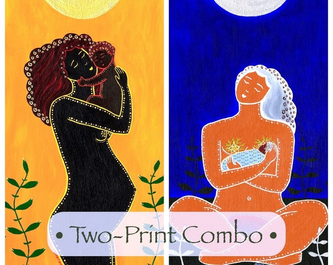 African Mother & Child I and II • Two 12x12 Prints