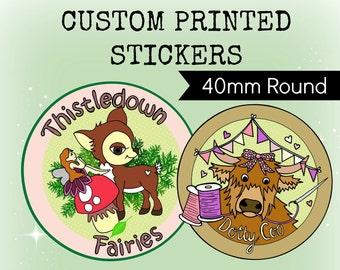 Custom Stickers Design - Plus x120 Printed 40mm ROUND Stickers