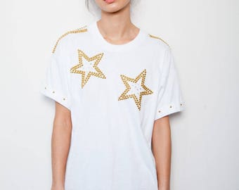 SALE was 130 now 95 fabulous VINTAGE 80s gold star crystal studded cuffed fresh white t-shirt