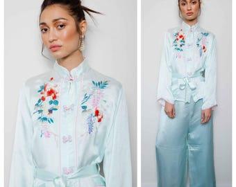 super luxe vintage 30s/40s fine silk Chinese embroidered pyjamas pajamas
