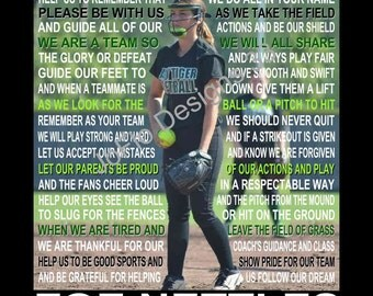 The Softball Prayer personalized  with photo,, Softball Prayer,  Softball Print,  Softball Poster, Senior Night, Sports Banquet