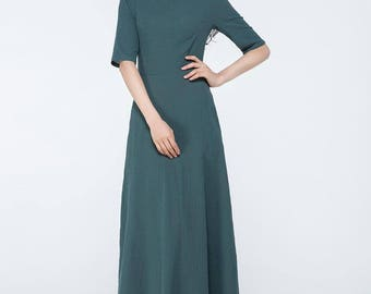 dark green dress, linen maxi dress, maxi dress with sleeves,  linen dress, linen dress pattern, womens dresses, made to order   C1062