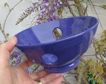 Pottery Yarn Bowl Porcelain UK Knitting Bowl Handmade  - Rich Purple Raku effect glaze - comes with a matching dish for stitch markers