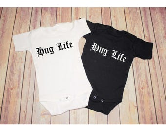 Hug Life bodysuit / one piece / creeper (new baby, baby shower gift, funny hip 90's baby, Thug Life, Ironic, Funny, Baby)