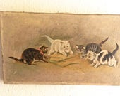 RESERVED for JENNIFER....Vintage Painting. Kittens. Children Room Decor. Shabby Chic Cottage Wall Art.