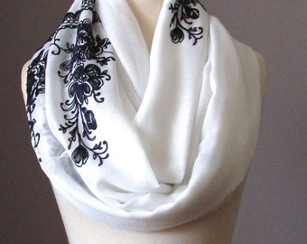 Infinity Scarf, Floral Scarf, Embroidered White Scarf, Black and White Circle Infinity Scarf, Light scarf, Spring scarf