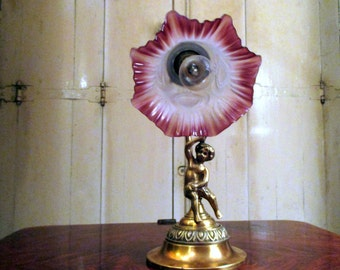 Beautiful CHERUB Antique French Bronze Table Lamp with Rose Pink Shade - in Excellent Condition - French Lighting - French Home Decor