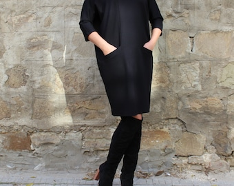Black dress/ Black Midi dress/ Oversized dress/ Mid lenght dress/ Long sleeve dress/ Plus size dress/ Spring dress/ Casual dress