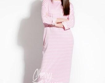 Pink dress/ Striped dress/ Long Dress/ Casual dress/ Long sleeve dress/ Day dress/ Column dress/ Spring dress/ Summer Dress/ Plus size dress