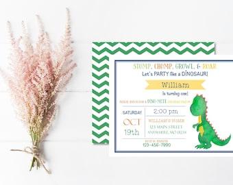 Dinosaur Invitation | Dinosaur Invitations | Dinosaur Birthday | Dinosaur Theme Party | Dinosaur Party | Boy First Birthday Invitation