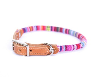 Cat Collar or Small Dog Collar - Pink Stripe