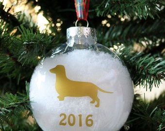 Dachshund Ornament, Doxie Christmas Tree Ornament