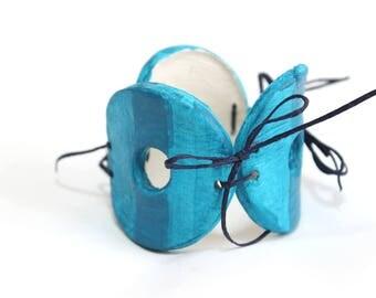 Ceramic blue bangle bracelet, hand painted, bohemian bracelet, oversized bracelet, chunky bangle, coctail jewellery