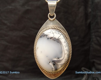 Snow Opal in Argentium Sterling Silver Pendant
