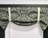 Lined Valance - Gray Valance - Kitchen Valance - Roman Valance -  Fixed Tie Up Valance - Bathroom Valance - Gray and Cream Roman Shade