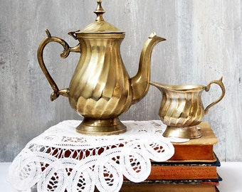 Vintage Brass Coffee Pot with Creamer , Antique Coffee Serving Set,Brass Small Coffee Pot and Creamer,vintage retrò tableware