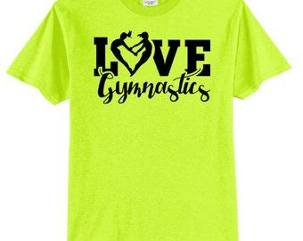 Love Gymnastics Heart Shirt Gymnast T Shirt Black Ink