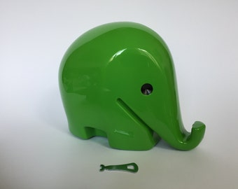 Vintage XXL Colani Style Elephant Piggy Bank with KEY. Space Age. Green. 1960s. German. Drumbo. Germany. 2017_012