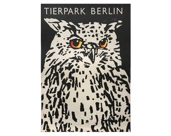 10% OFF Original Vintage Zoo Poster. Berlin. Germany. Tierpark. Owl. Advertising Poster.
