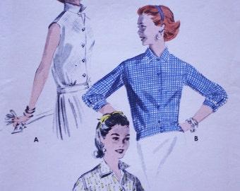 1950s Blouse Pattern /Butterick 7589 /Vintage 1950s Butterick Pattern 7589 / Notched Overblouse / Bust 34