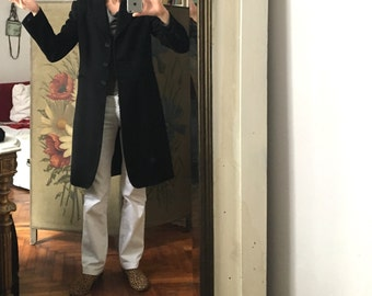 38 / Medium 90s Stefanel black wool soft long coat/ knee length/ M women