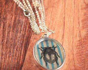 Silver Beetle Necklace, Beetle Jewelry, Beetle Jewellery, Beetle Necklace, Beetle Pendant, Jewel Beetle Pendant, Black Beetle Jewelry