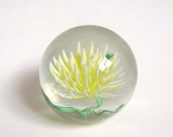 FLORAL Yellow & Green THISTLE Flower Blossom Art Glass Vintage PAPERWEIGHT Hand Blown Artisan Modernist Abstract Mod Retro