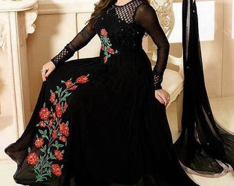 Brides Galleries chiffon replica, indian clothing, black maxi dress, Pakistani clothing, black pakistani dress