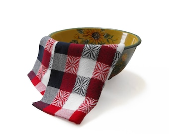 Handwoven Kitchen Tea Towel, Red White and Blue Tea Towel, Red White Blue Plaid Tea Towel Stars and Stripes, Hand Woven Tea Towel Cotton