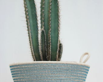 Rope Planter Bowl in Denim Blue (small size)