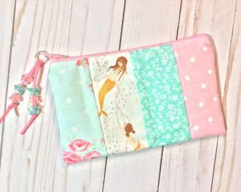 Pretty Pastel Mermaids Zipper Pouch. Pink and Aqua. Mendocino Mermaid by Heather Ross. Kawaii. Suede Zipper Pull with Acrylic Star Beads.