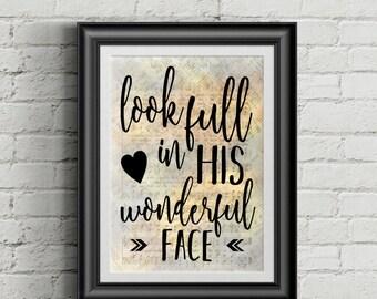 Look Full In His Wonderful Face Digital Hymn Print