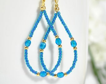 Hoop Earring Blue Gold Hoops Beaded Earrings for Sale Lever Back Earring or Gold Filled