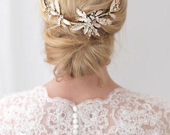 Gold Wedding Hair Clip, Floral Bridal Hair Clip, Gold Hair Clip, Rhinestone Hair Clip, Gold Hair Comb, Gold Headpiece, Hair Clip ~TC-2282-G