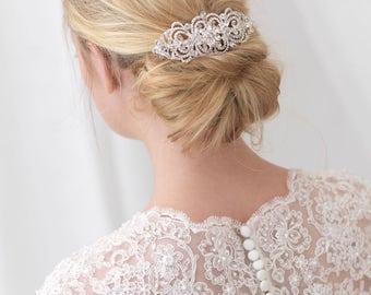 Vintage Hair Comb, Rhinestone Bridal Hair Comb, Wedding Hair Comb, Silver Hair Comb, Bridal Hair Accessory, Bridal Headpiece, Bride ~TC-2286