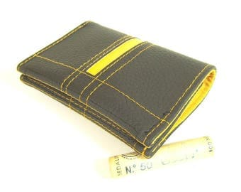Wallet, Small Front Pocket Wallet, Men's Wallet with coin Pocket, Zip coin Pocket, Black yellow Wallet, pocket Wallet, small Mens Wallet, WM