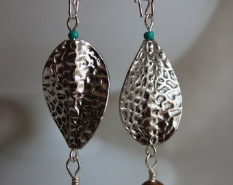 Silver and wood bead earrings with turquoise seed bead accents