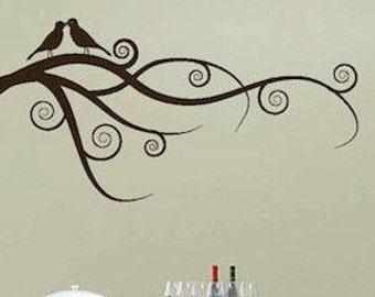 Love Bird Branch Wall Art Design, Nursery Branch Decals, Removable Vinyl Branch, Interior Branch Murals, Birds on Branch Self Adhesive, b90