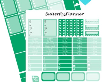 Green Printable Planner Stickers, 2 Pages, Digital Download