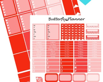 Red Printable Planner Stickers, 2 Pages, Digital Download,
