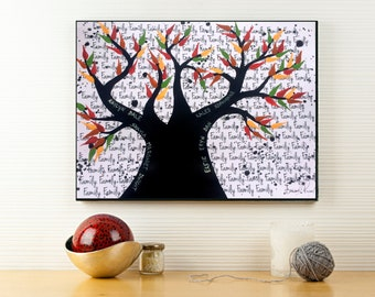 Custom Family Wall Art, Unique Gift for Grandmother, Family Tree Anniversary Gift, Personalized Family Present for Grandma, Canvas Art