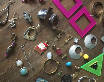 Huge Lot of Mismatched Earrings from 1980s