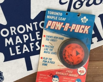 Extremely Rare Vintage 1960s Toronto Maple Leafs Pow-R-Puck endorsed by Dave Keon & Tim Horton - Still in Package!